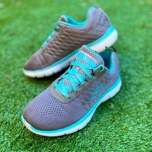 Skechers women gray memory foam sneakers shoes AU5